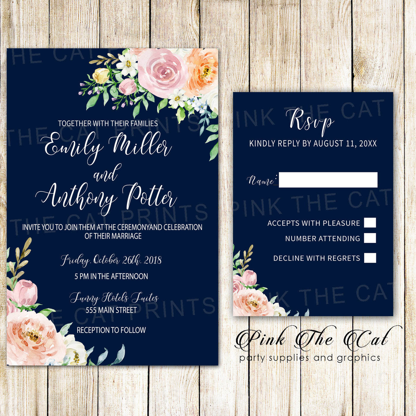 Wedding Invitations Navy Blue Blush Pink Floral & RSVP