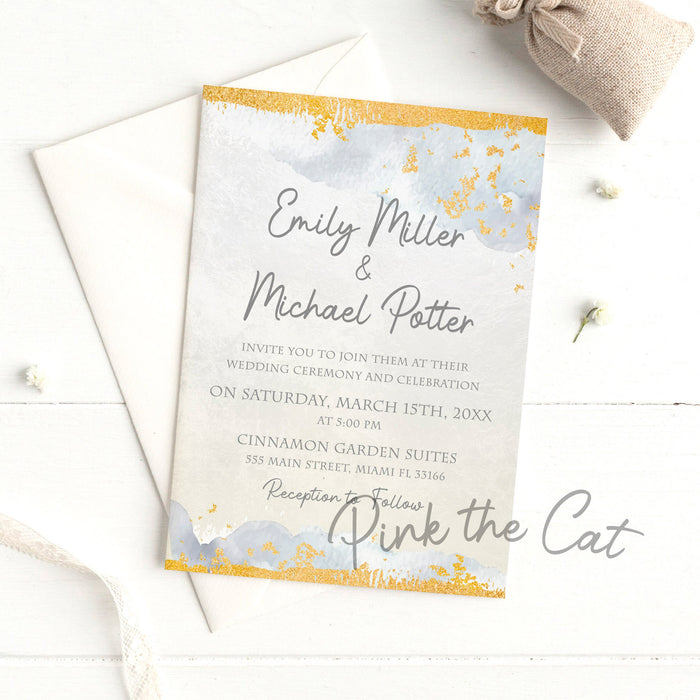 Dusty blue silver and gold wedding invitations