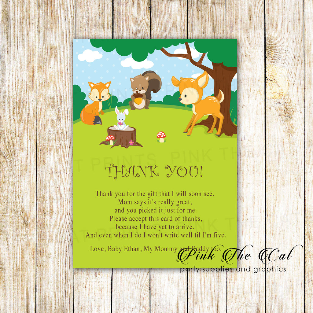 30 forest animals thank you cards birthday baby shower deer fox
