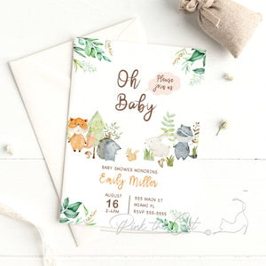 Woodland watercolor invitation