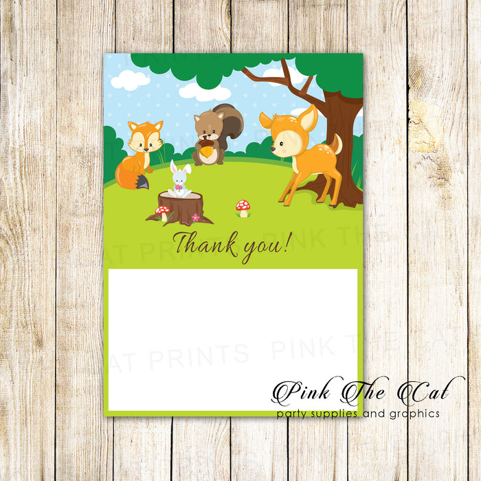 30 thank you cards blank forest woodland + envelopes