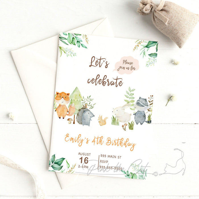 Woodland watercolor invitation kids