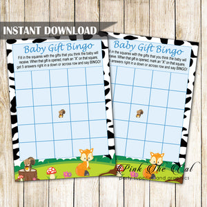 Baby Gift Bingo Card Woodland Forest Animals Printable