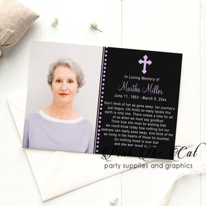 Funeral announcement prayer card purple black (set with 100)