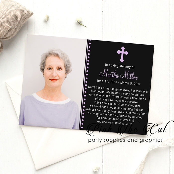 Funeral announcement prayer card (set with 100)