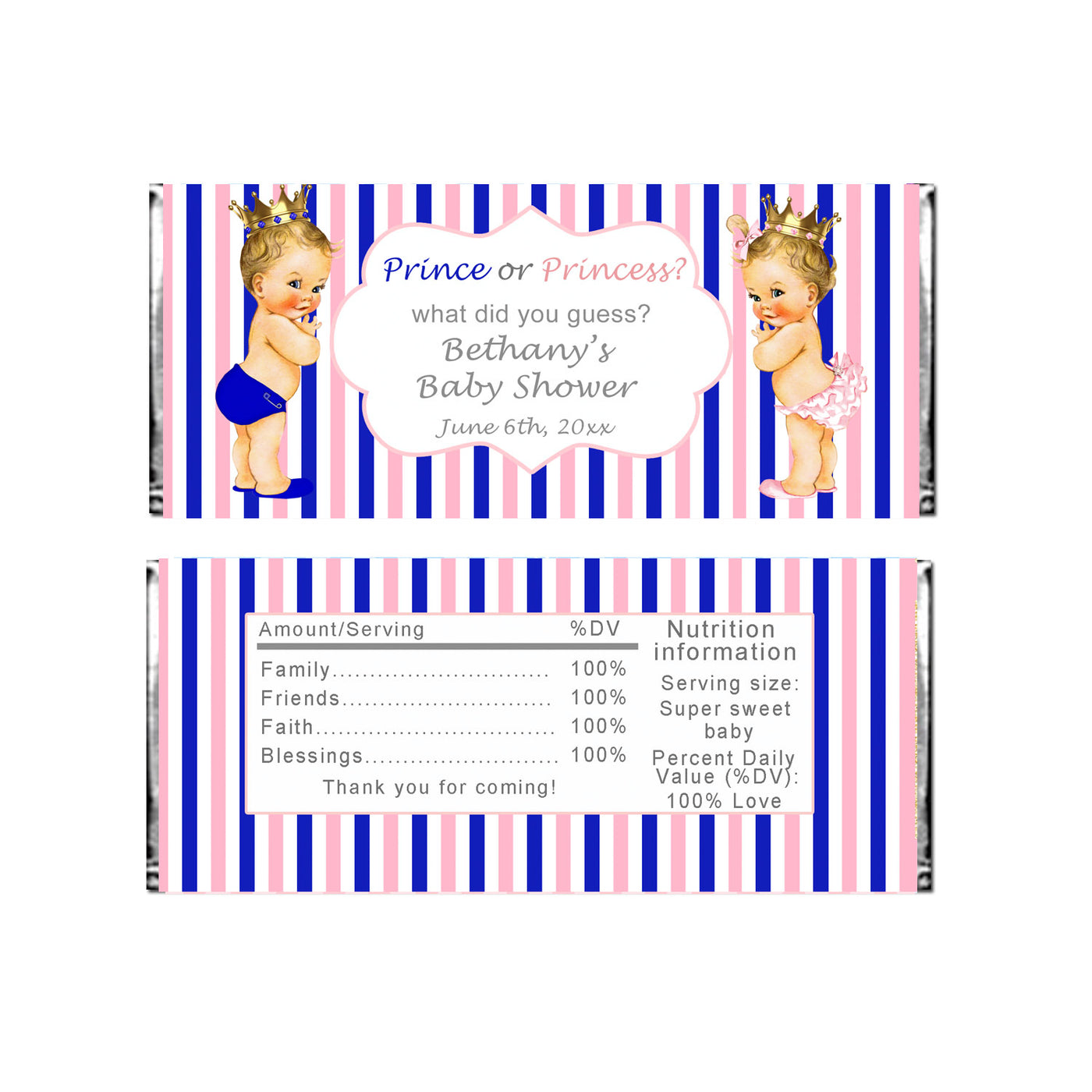 picture about Printable Candy Wrappers named Sweet wrappers princess prince gender make clear printable