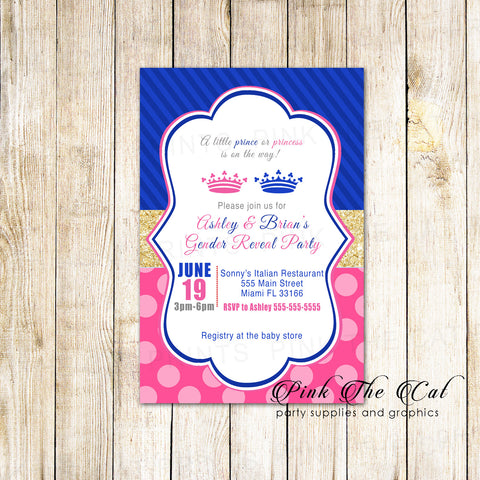 30 invitations baby shower gender reveal prince princess