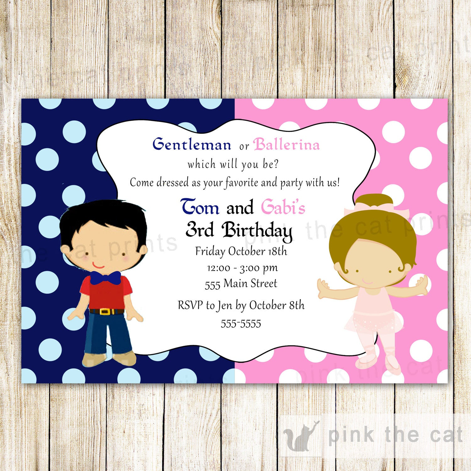 Little Man Gentleman Ballerina Invitation Kids Birthday Party Ballet ...