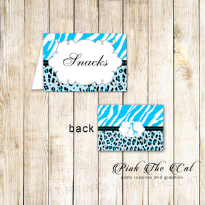 Blue Giraffe Jungle Buffet Balnk Tent Cards Printable