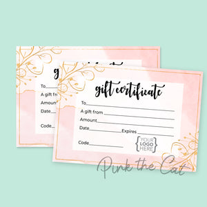 Gift certificate card watercolor pink