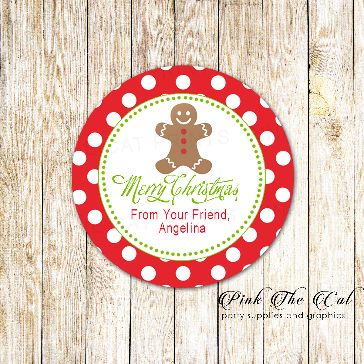 40 stickers gingerbread christmas favor label sticker tag pink the cat