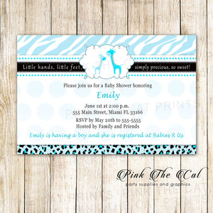 Giraffes Invitation Baby Boy Shower Light Blue Printable