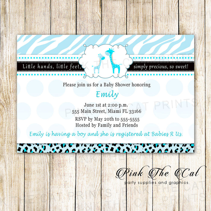 Giraffes Invitation Baby Boy Shower Light Blue