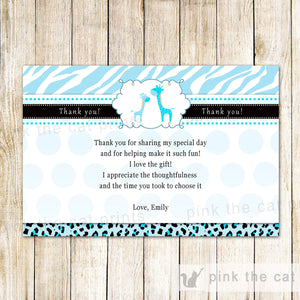 Blue Giraffe Thank You Card Note Baby Boy Shower