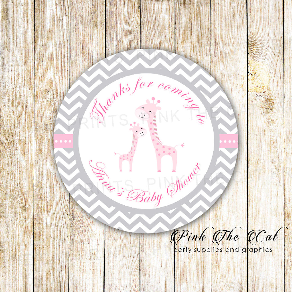 40 Giraffe Baby Girl Shower Gift Favor Label Sticker Pink Gray