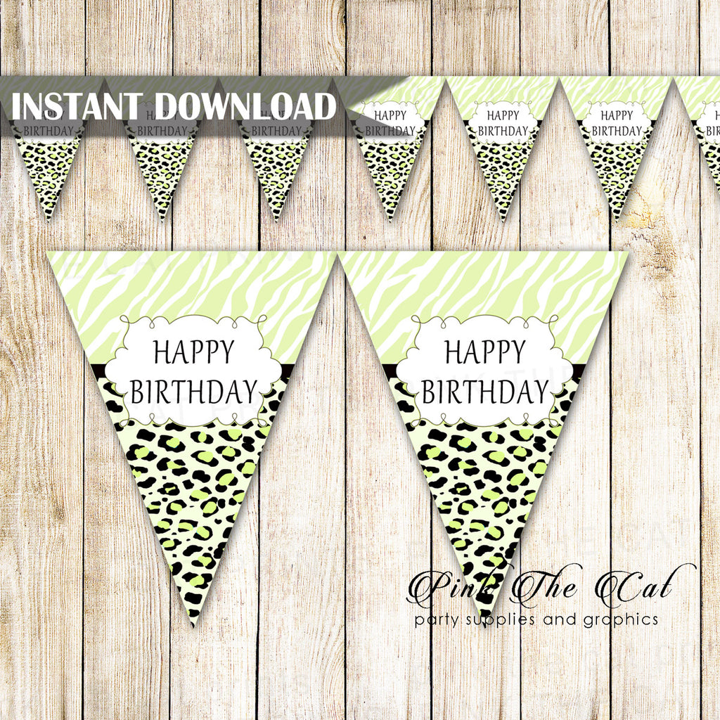 Animal Print Black Green Happy Birthday Flag Banner Printable