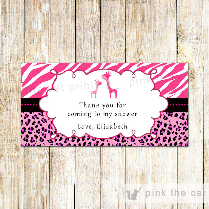 Hot Pink Pink Giraffe Thank You Labels or Tags
