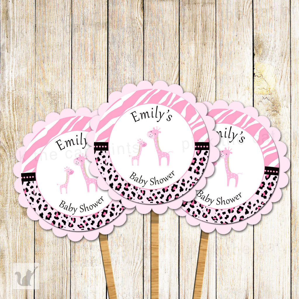 Giraffe Cupcake Topper Baby Girl Shower Pink Black Zebra
