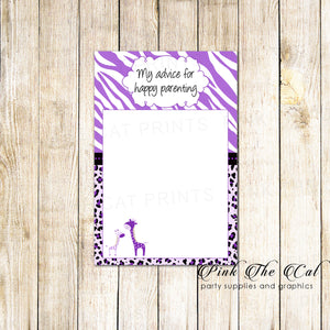 30 Printed Cards Giraffe Parenting Advice Girl Baby Shower Purple