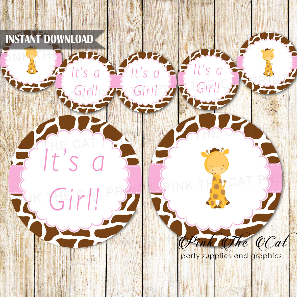 Giraffe Baby Shower Banner Pink Brown Printable Pink The Cat
