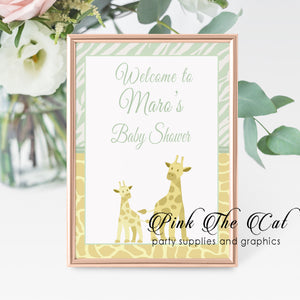 Mint yellow giraffes welcome sign printable