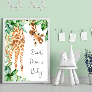 Giraffe nursery decoration kids baby sweet dreams watercolor wall art