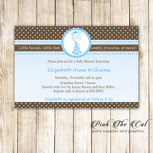 30 Invitations Giraffe Boy Birthday Baby Shower Blue Brown
