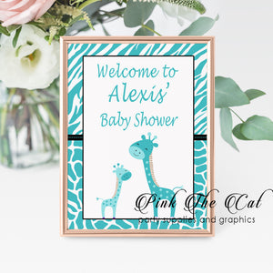 Teal giraffes welcome sign printed