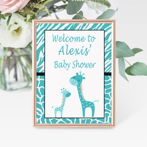 Teal giraffes welcome sign baby shower decoration printable