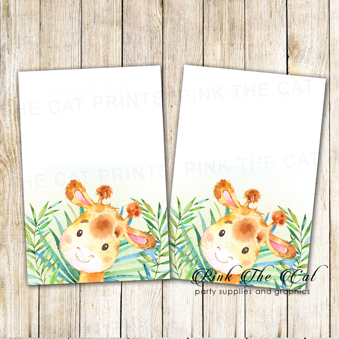 30 thank you cards blank invitations watercolor giraffe & envelopes