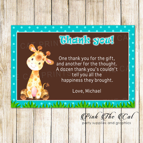 30 Giraffe thank you card boy birthday baby shower teal brown