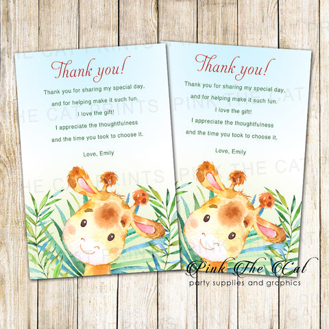 30 Giraffe thank you cards boy birthday baby shower watercolor