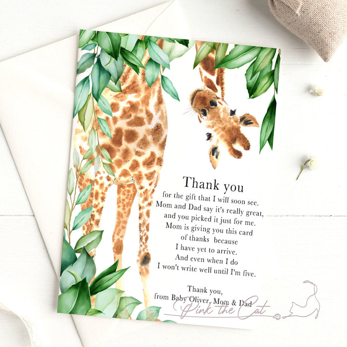 Giraffe watercolor thank you card