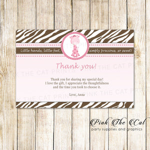 Giraffe Thank You Card Note Pink Brown Birthday Baby Shower Printable