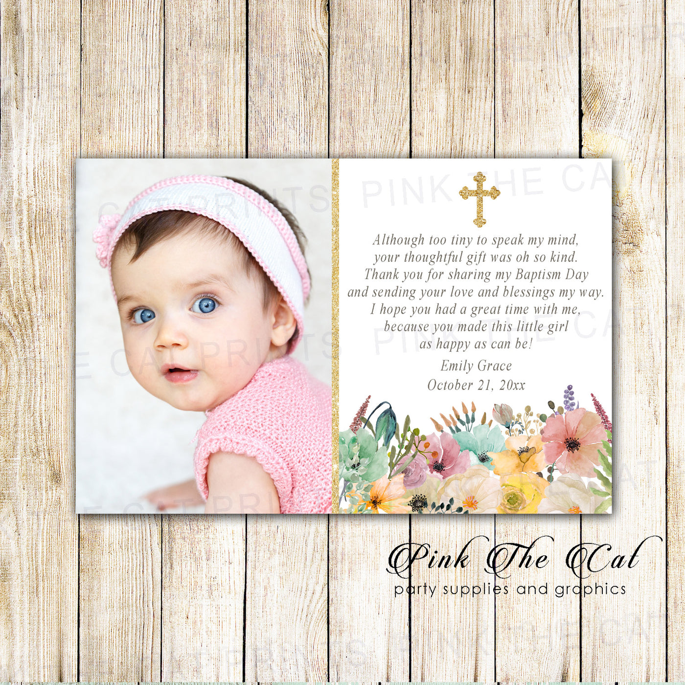 30 Thank You Cards Floral Girl Baptism Christening With Photo Pink