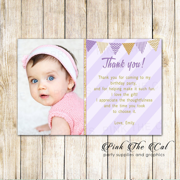 30 Thank you cards girl birthday lavender gold with photo