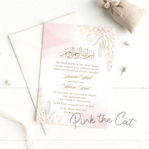 Nikah Invitations Pink Gold