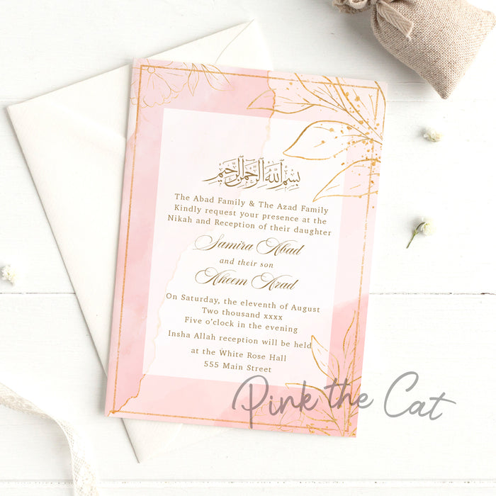 Nikah Invitations Blush Pink Gold