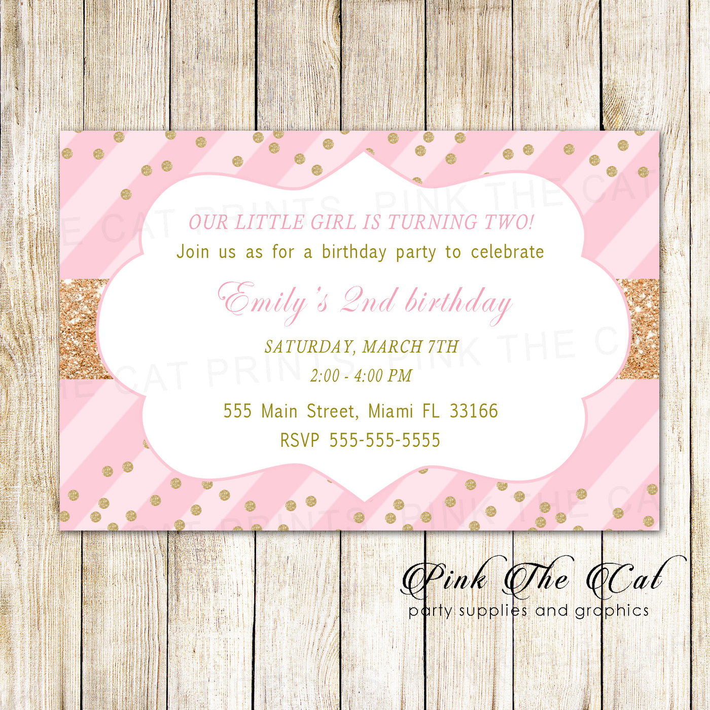 Girl Birthday Invitations Blush Gold Glitter Stripes Confetti Printable