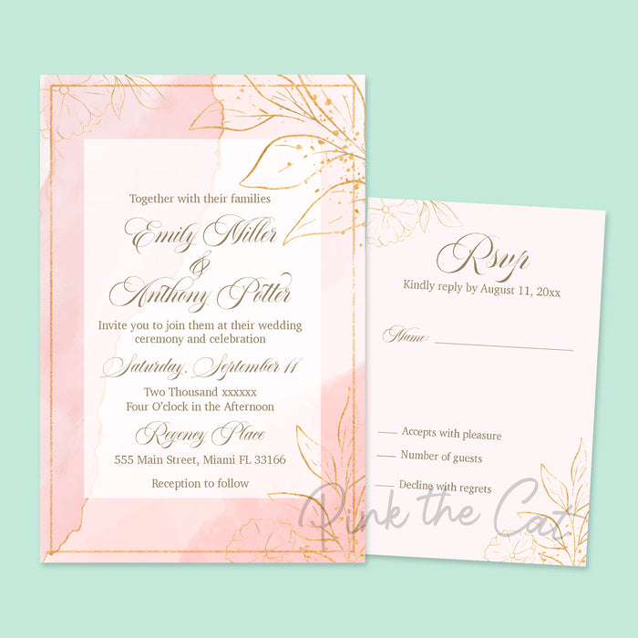 Blush pink gold glitter wedding invitations