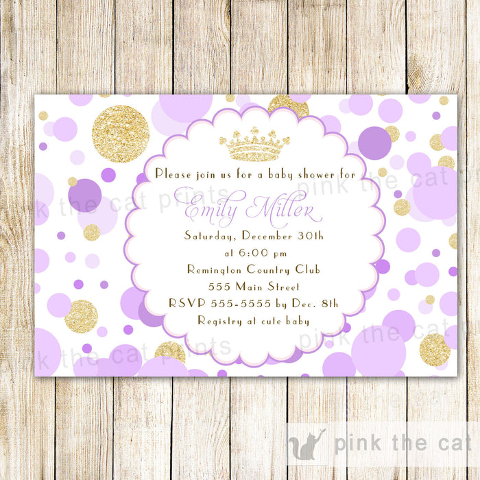 Confetti Invitations Princess Purple Gold Birthday Baby Shower