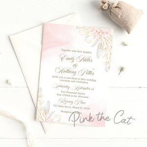 Pink blush floral wedding invitations
