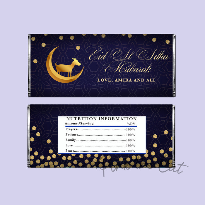Eid al adha mubarak candy bar blue gold