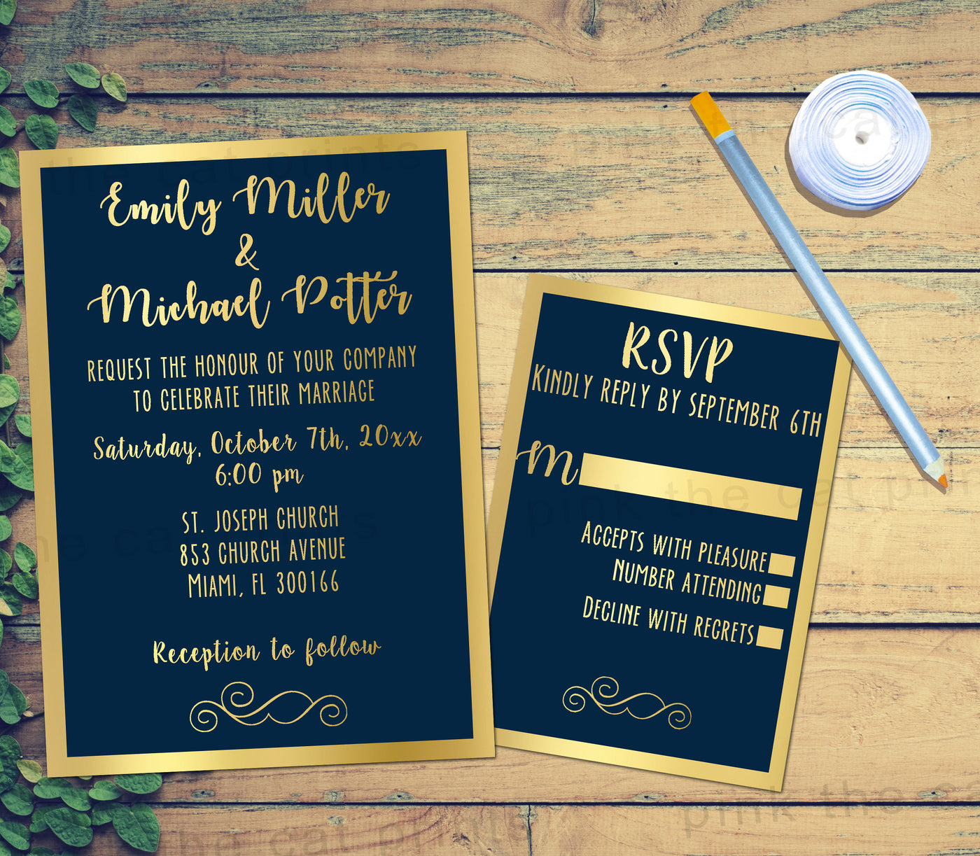100 Printed Gold Navy Blue Wedding Invitations & RSVP Cards Glitter – Pink  the Cat
