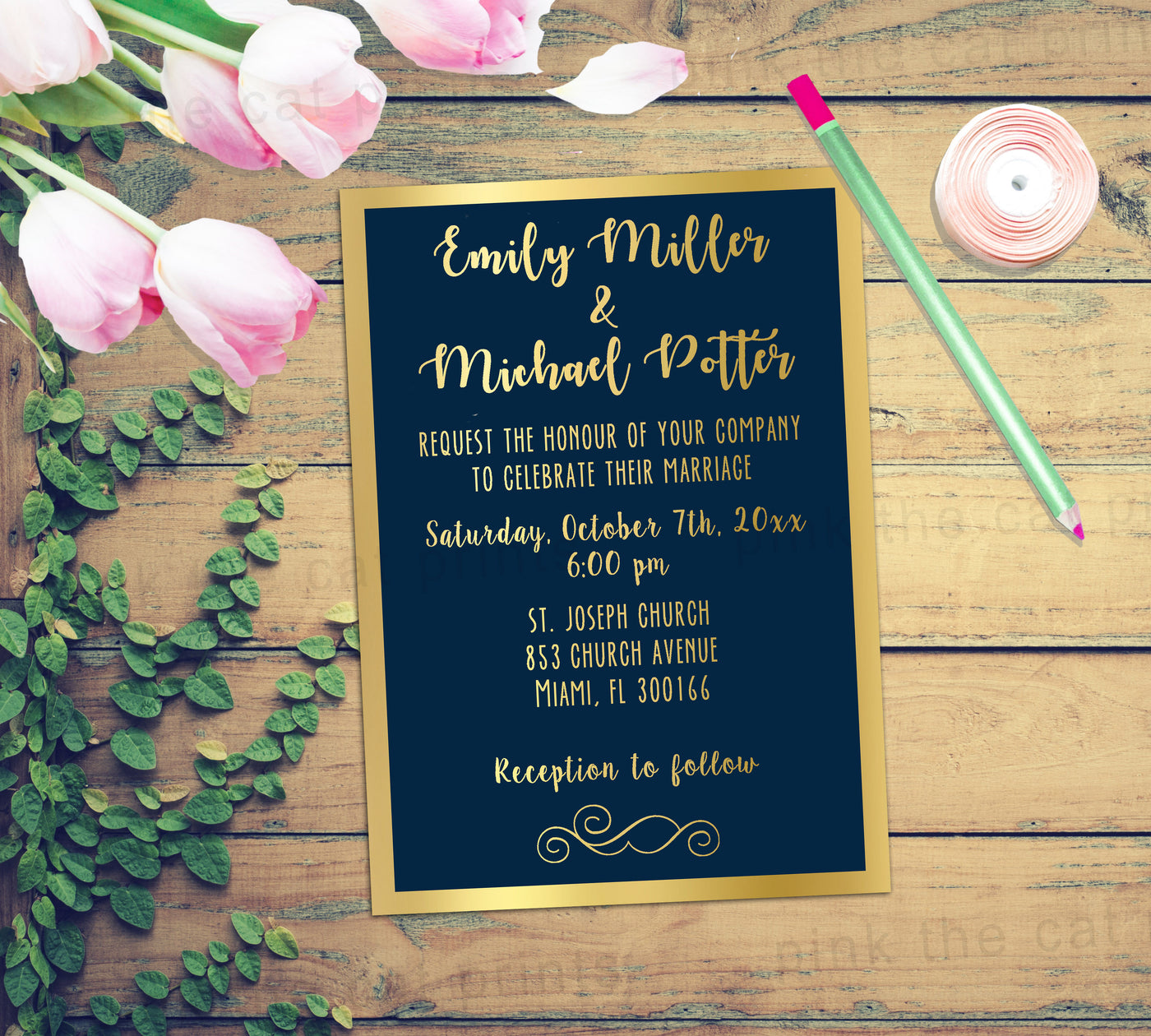 Navy Blue And Gold Wedding Invitations: Gold Navy Blue Wedding Invitation Card Printable Glitter