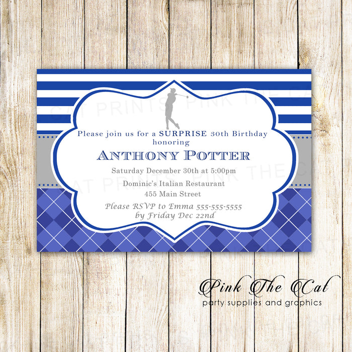 30 Golf Invitations Birthday Retirement Party Silver Blue