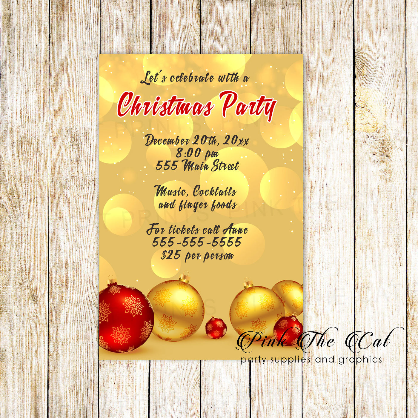 Holiday Christmas Party Invitation Red Gold Ornaments Printable