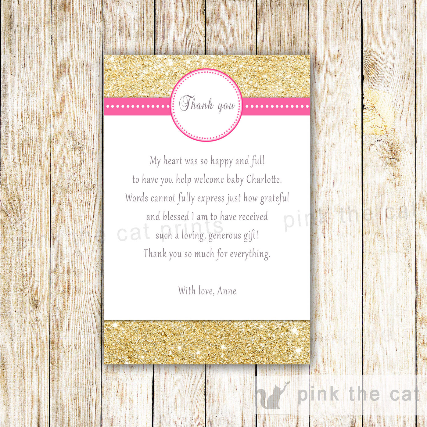 glitter gold thank you note card girl birthday baby bridal shower pink