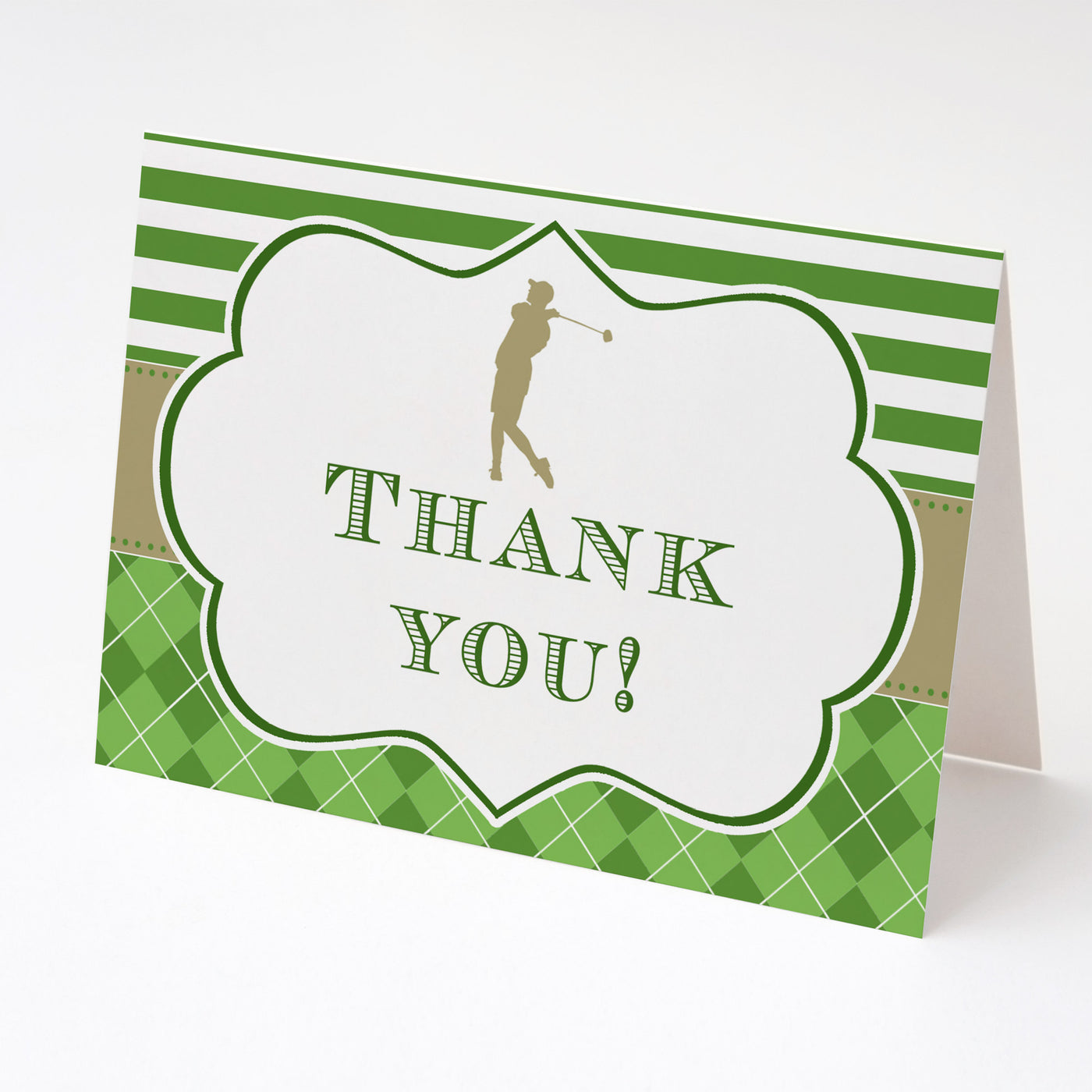 30 Thank You Cards Golf Theme Green Gold Adult Birthday Retirement