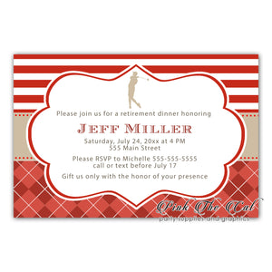 Golf invitation red gold printable